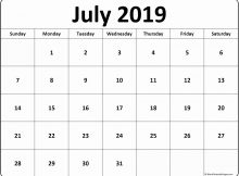July 2019 Printable Calendar Word