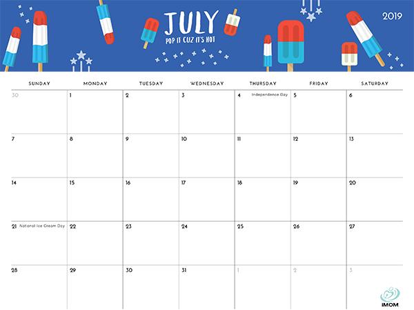 July 2019 Printable Calendar with Holidays