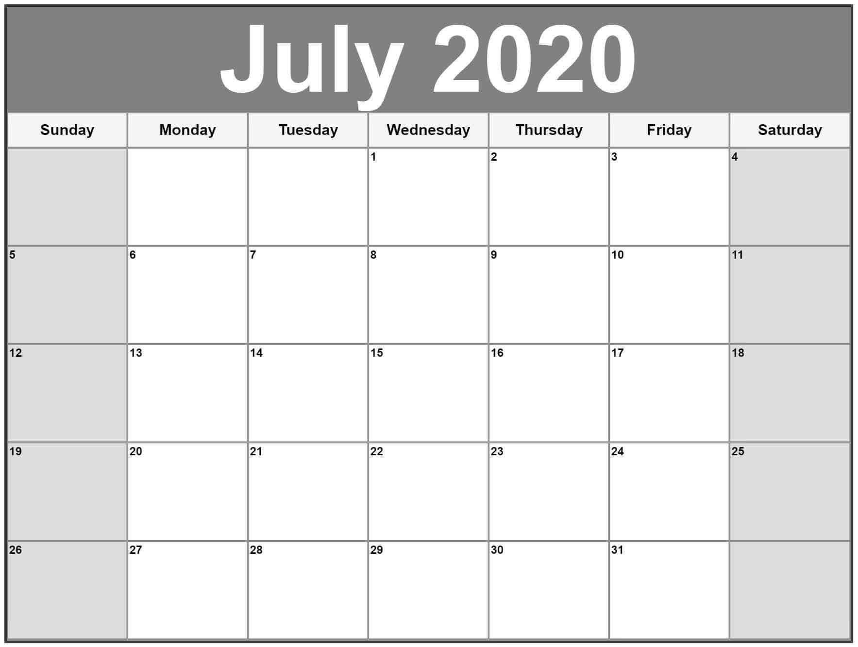 July 2020 Calendar Blank Template