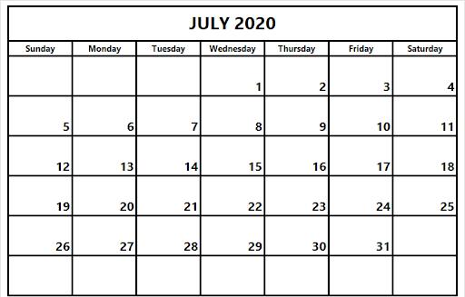 July 2020 Calendar Editable Template