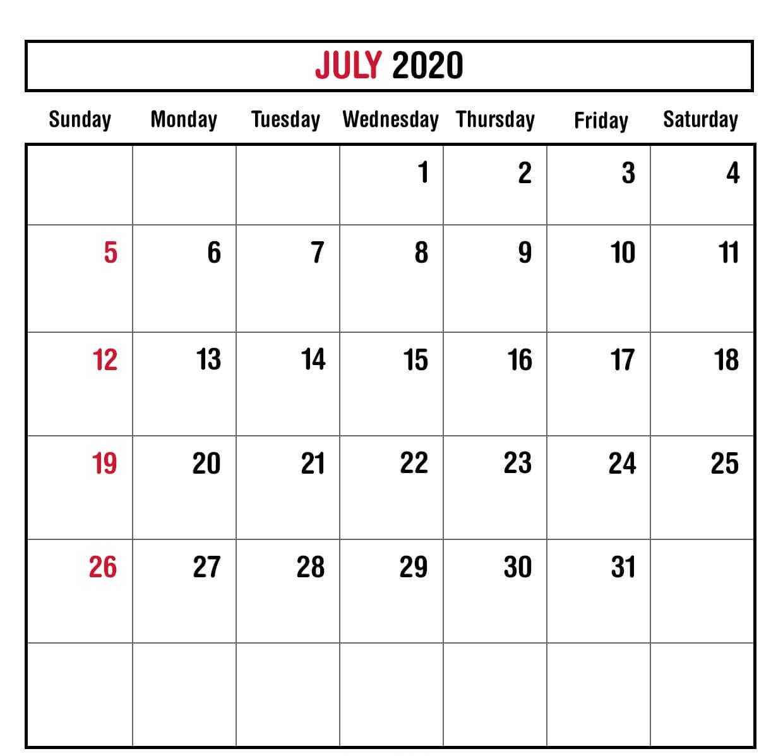 July 2020 Calendar Planner