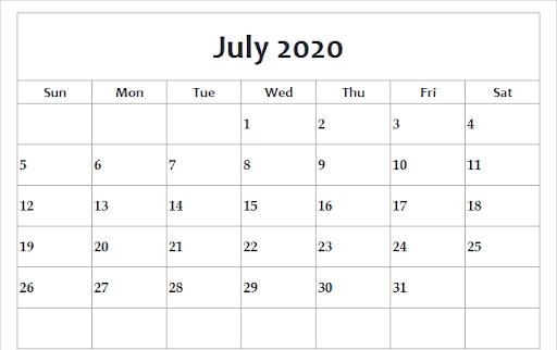 July 2020 Calendar Template PDF