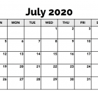 July 2020 Calendar Template Word