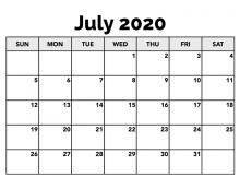 July 2020 Calendar Template Word