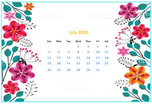 July 2020 Desktop Calendar Wallpapers