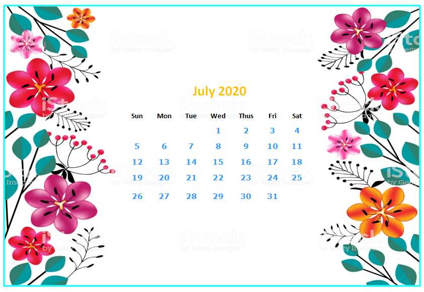July 2020 Desktop Calendar Wallpapers