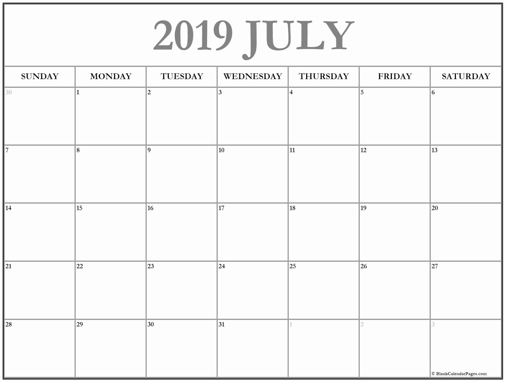 July Calendar Template 2019
