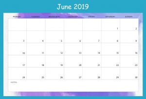 June 2019 Blank Calendar