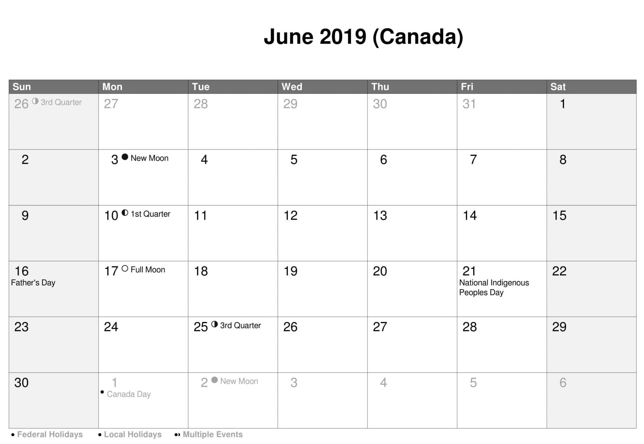 June 2019 Calendar Canada Bank Holidays