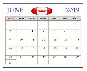 June 2019 Calendar Canada Holidays