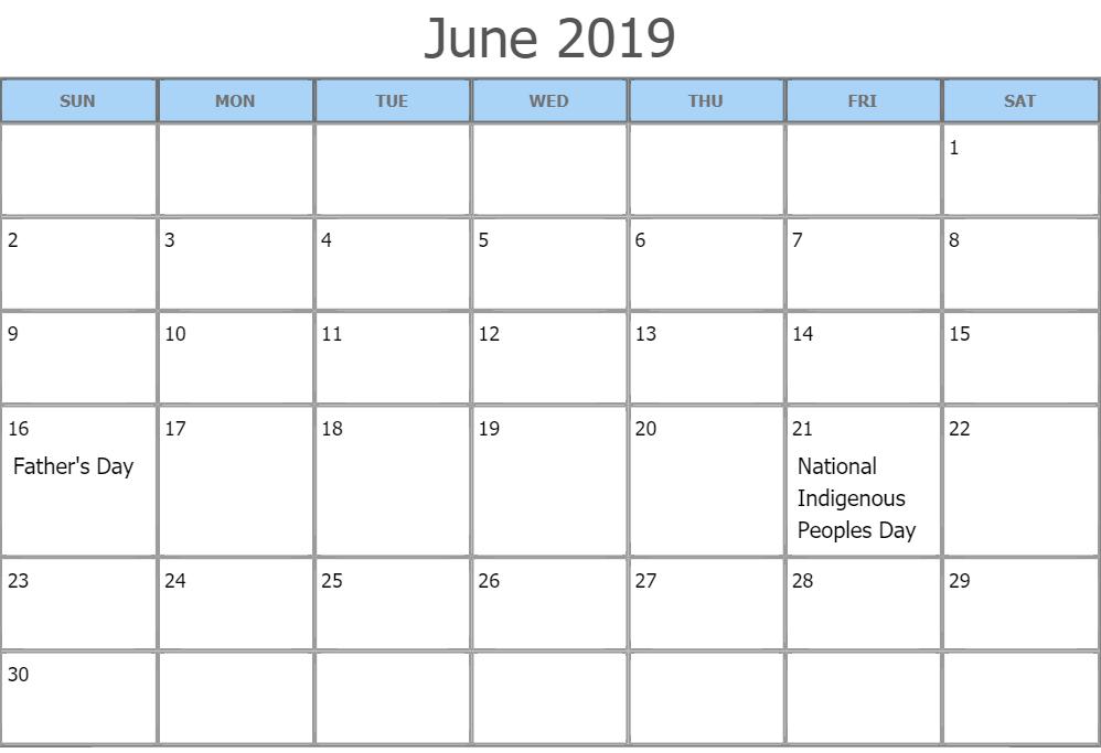 June 2019 Calendar Canada Public Holidays