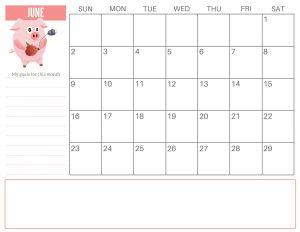 June 2019 Calendar Cute