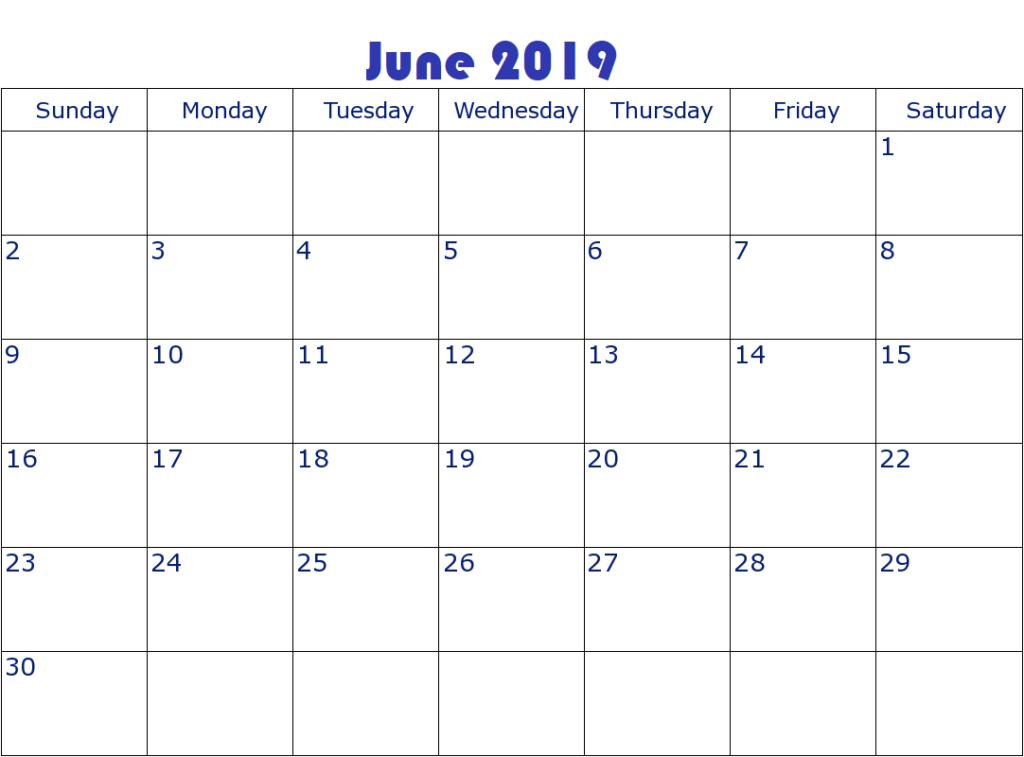 June 2019 Calendar Editable