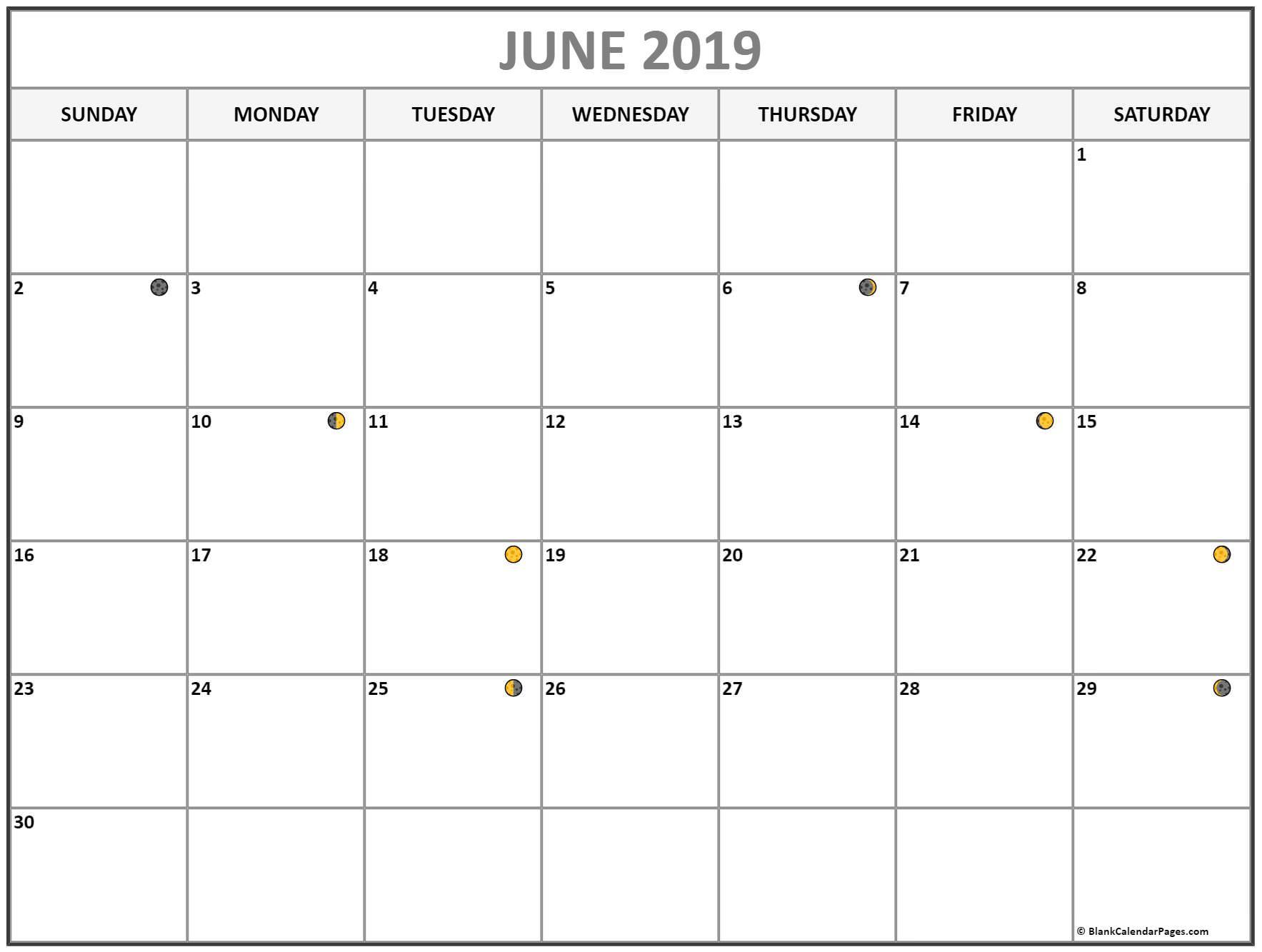 June 2019 Calendar Moon