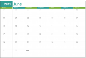 June 2019 Calendar NZ Bank Holidays 2019