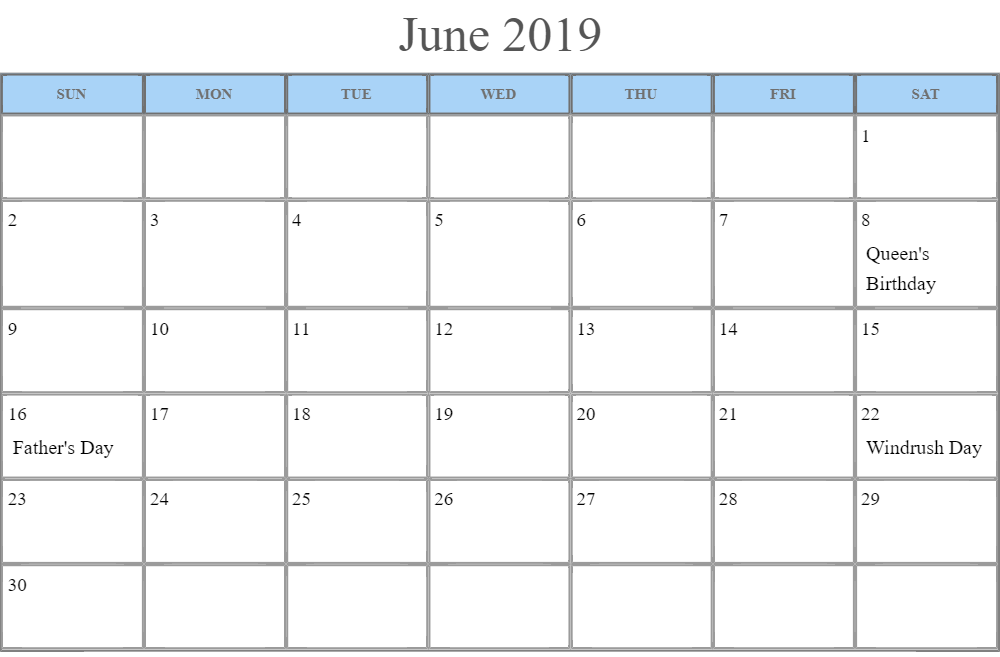 June 2019 Calendar UK