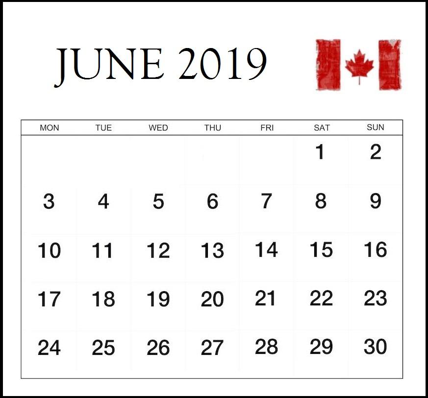 June 2019 Calendar With Canada Holidays