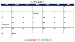 June 2019 Calendar With Holidays