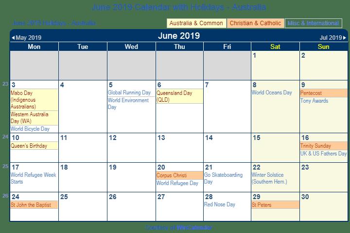 June 2019 Calendar With Holidays Australia