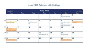 June 2019 Canada Calendar