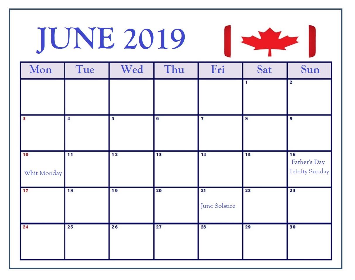 June 2019 Canada Holidays Calendar