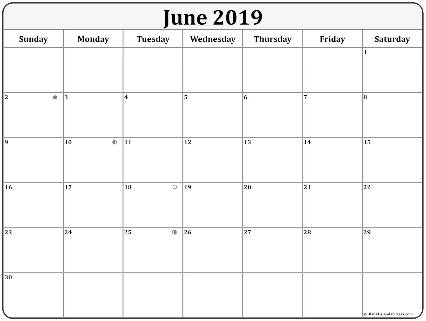 June 2019 Moon Calendar