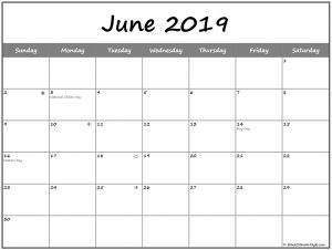 June 2019 Moon Phases Calendar With USA Holidays