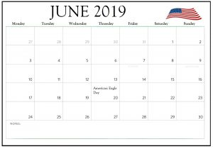 June 2019 USA Calendar Holidays