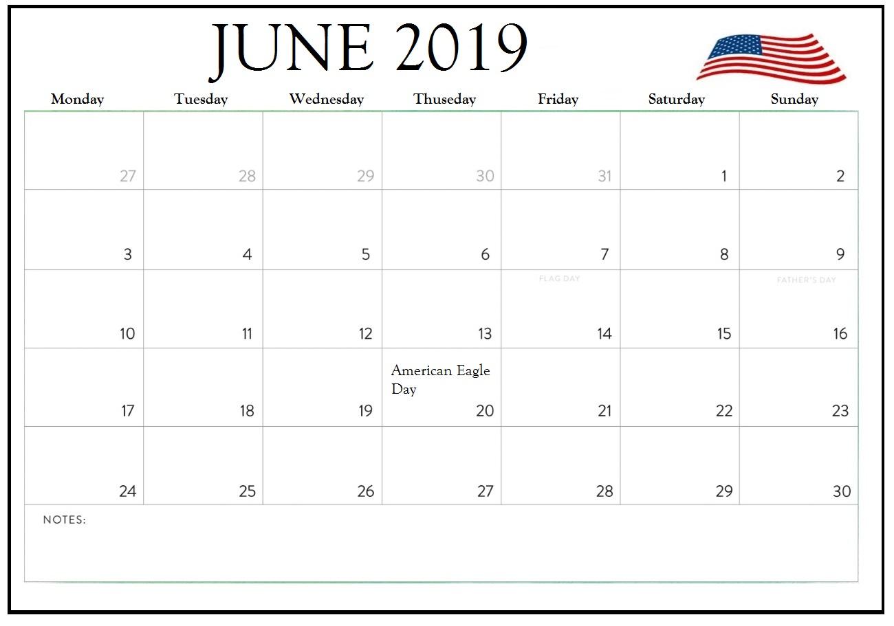 June 2019 USA Calendar Holidays
