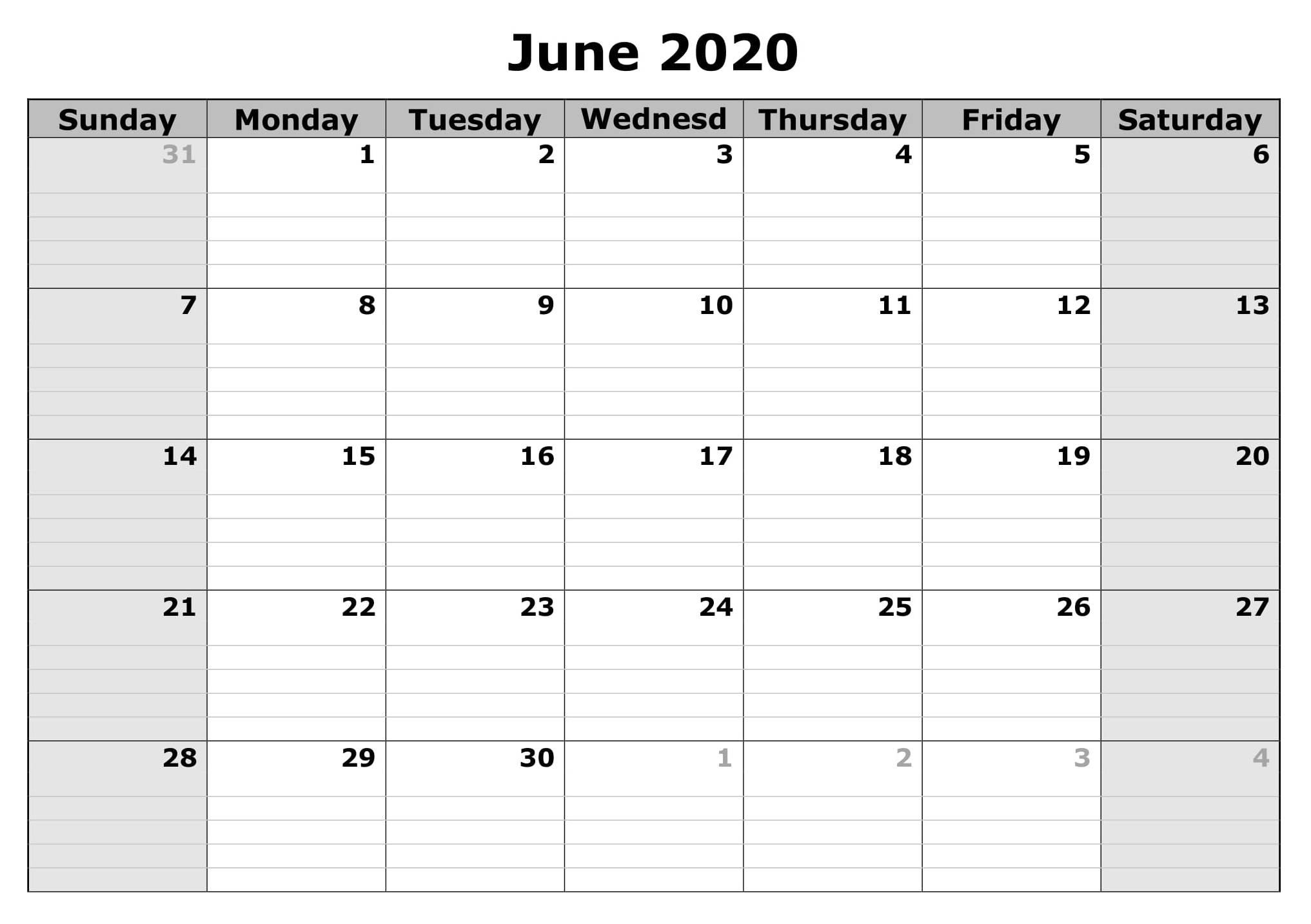 June 2020 Blank Calendar Excel