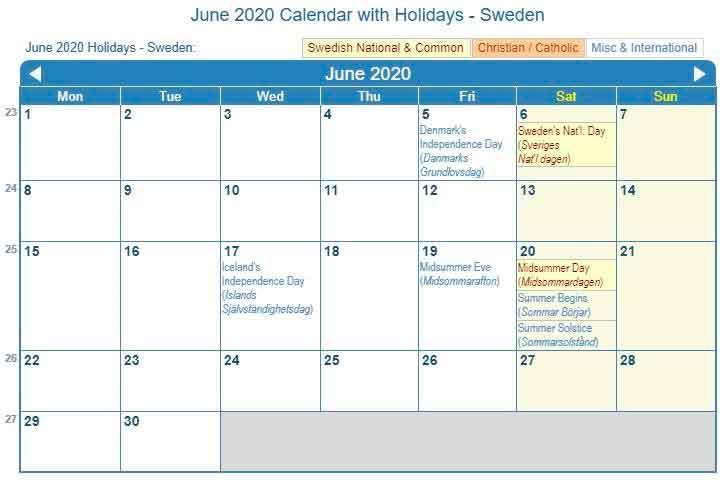 June 2020 Calendar Holidays