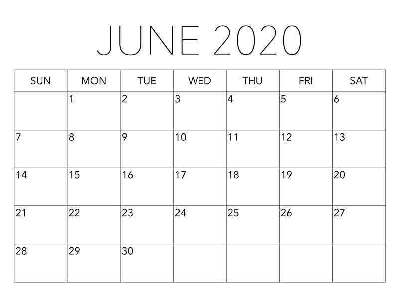 June 2020 Editable Calendar