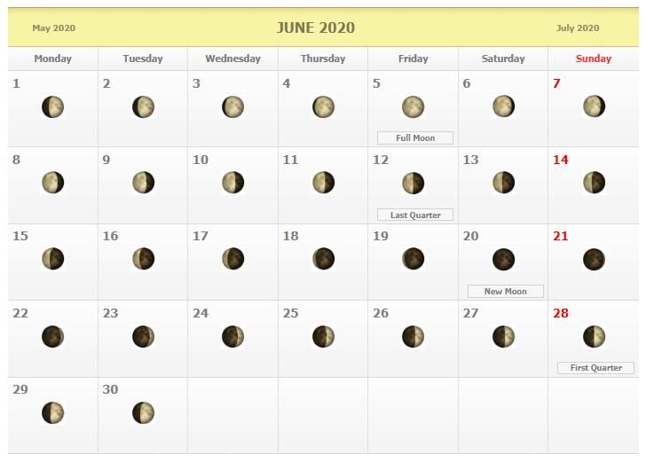 June 2020 Lunar Calendar