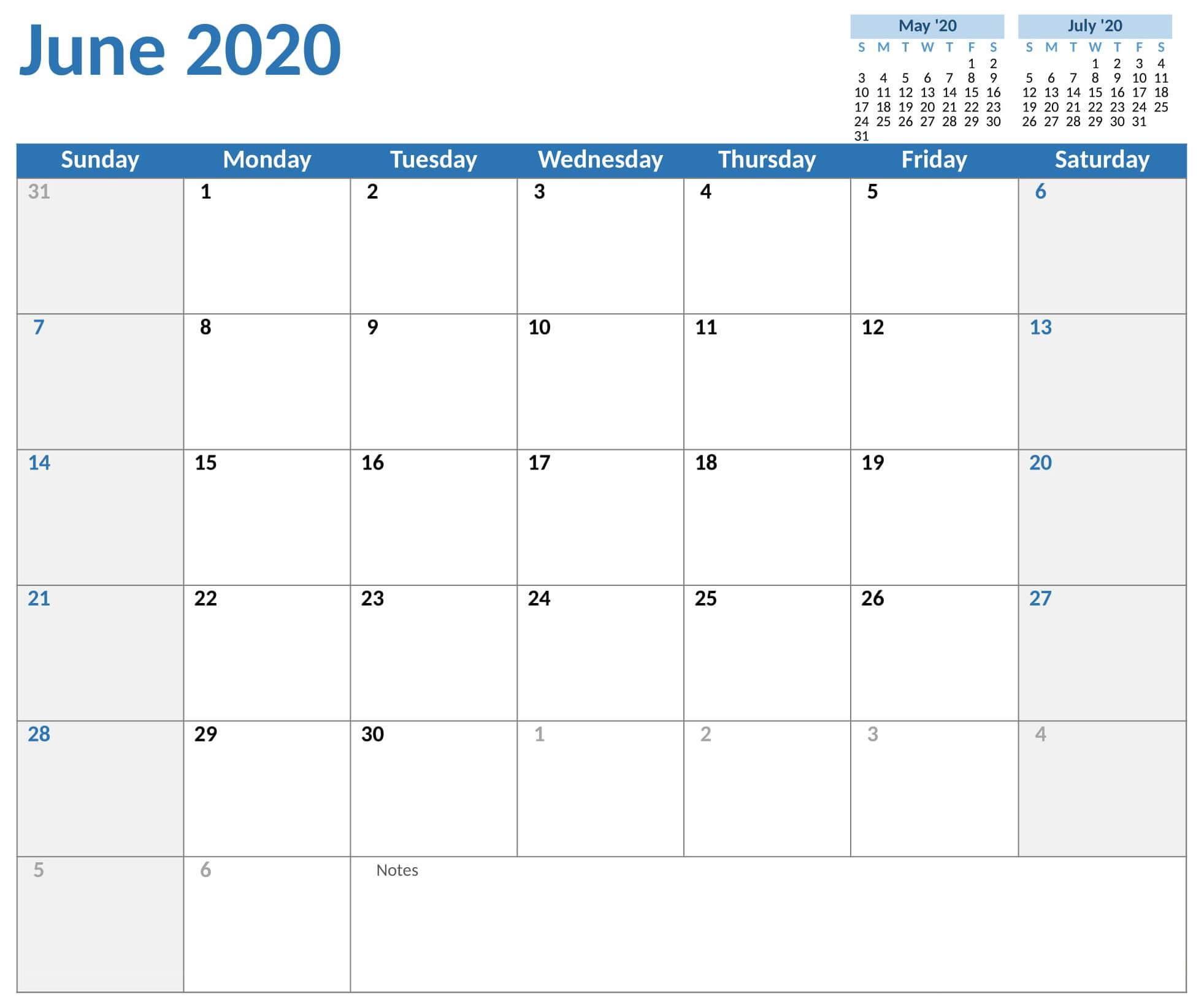 June 2020 Monthly Calendar Template