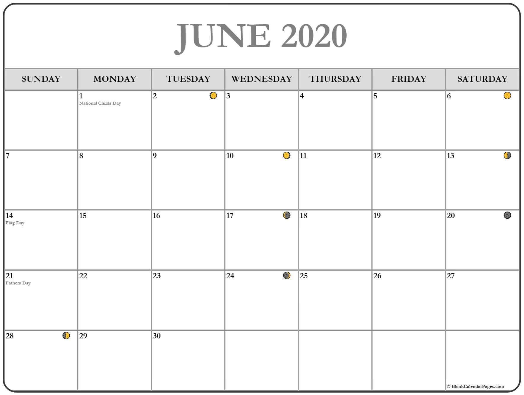 June 2020 Moon Calendar Template