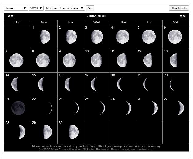 June Calendar Calendar Moon Phases