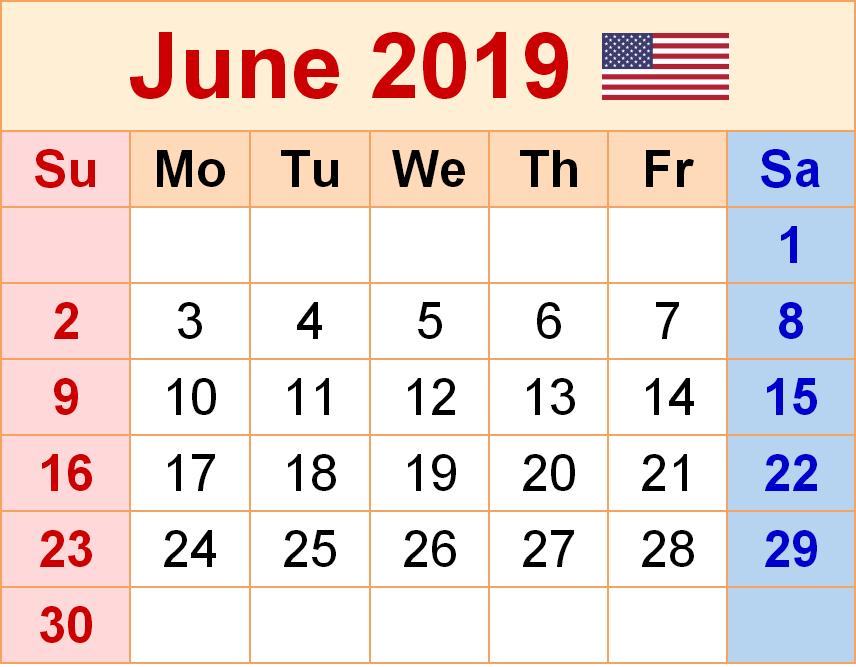 June USA 2019 Holiday Calendar Printable