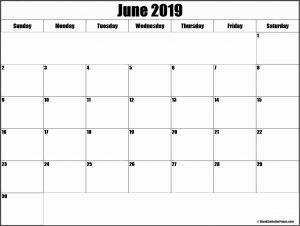 Landscape Blank Calendar June 2019