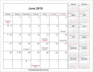 Lunar June 2019 Holidays Calendar