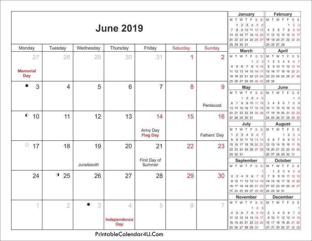 Lunar June 2019 Holidays Calendar