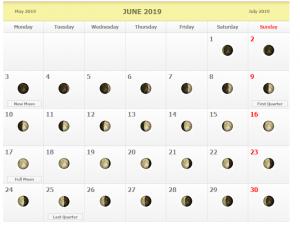Lunar June Calendar 2019