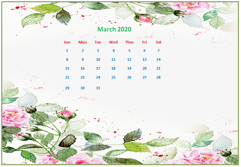 March 2020 Desktop Calendar Wallpapers