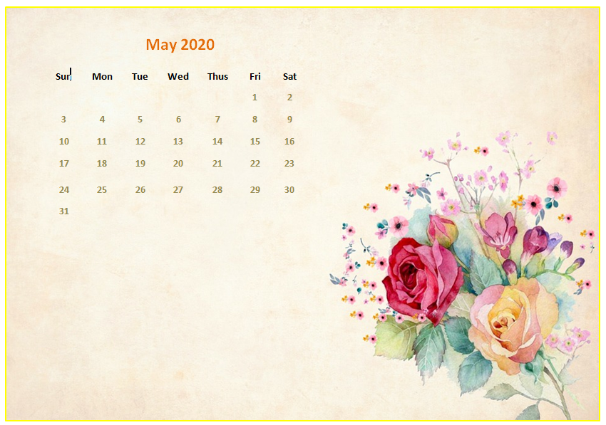 May 2020 Desktop Calendar Wallpapers