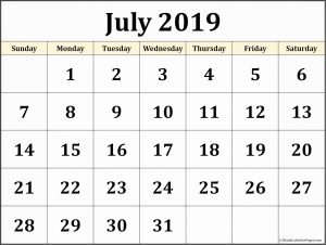 Monthly Calendar Blank Template July 2019