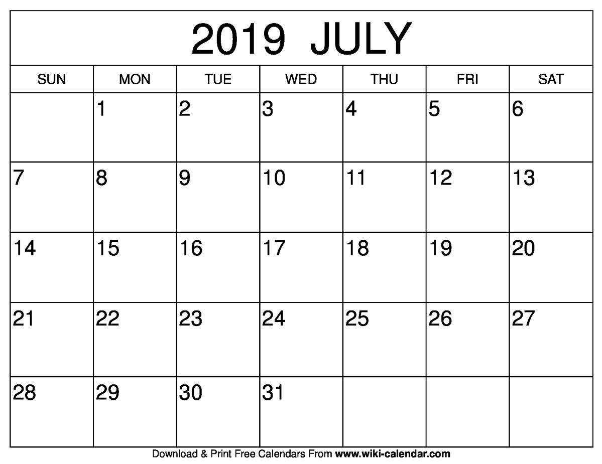 Monthly Calendar Template July 2019