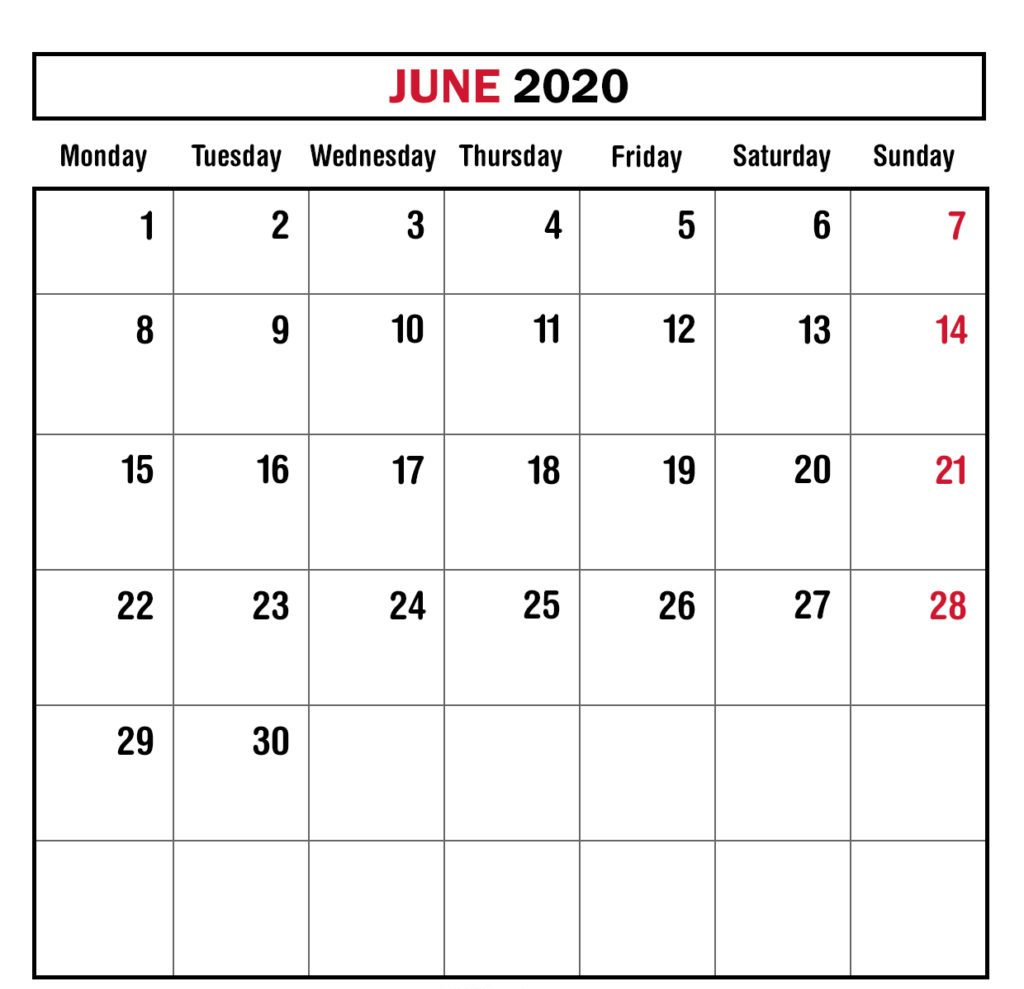Monthly June 2020 Calendar Editable