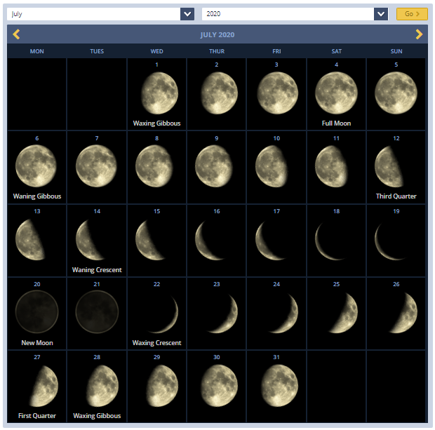 Moon Phases Calendar July 2020