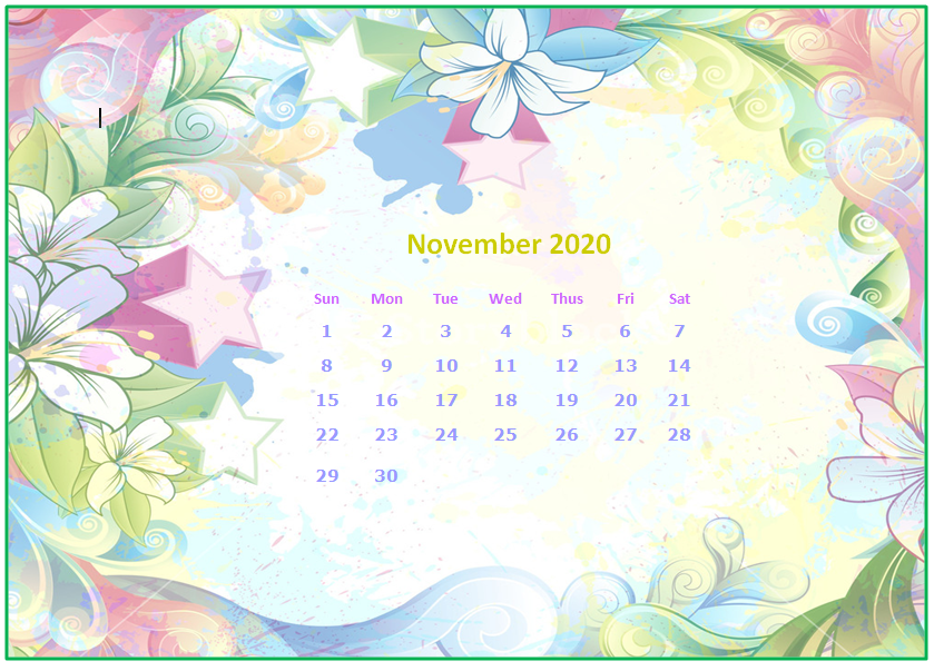 November 2020 Desktop Calendar Wallpapers