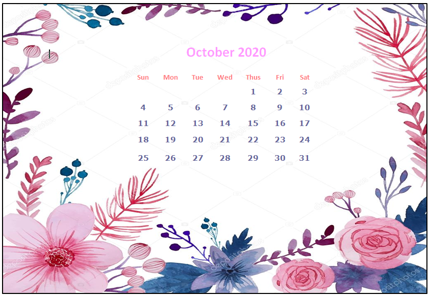 October 2020 Desktop Calendar Wallpapers