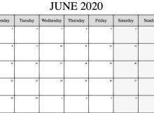 Online Blank Editable Calendar June 2020